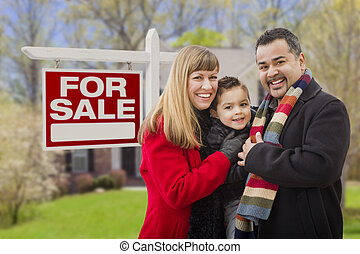 Mixed Race Family, Home and For Sale Real Estate Sign