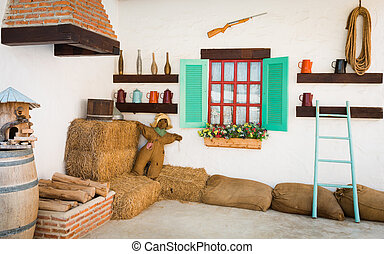 interior design of an old country house - background...