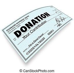 doação, cheque, palavra, Dinheiro, PRESENTE,...