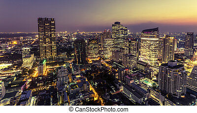 View of bangkok city at night from high building
