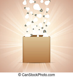 Ideas into the Box - Vector illustration of light bulbs...