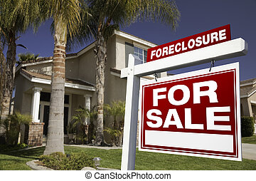 Foreclosure For Sale Real Estate Sign and House -...