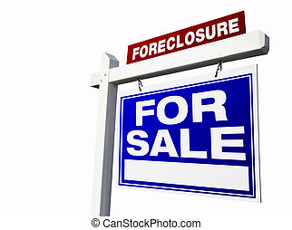 Foreclosure For Sale Real Estate Sign Isolated on a White...