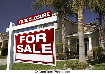 Foreclosure For Sale Real Estate Sign and House