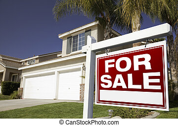 For Sale Real Estate Sign and House - For Sale Real Estate...
