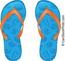 blue flip flops - Pair of flip flops