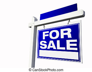 For Sale Real Estate Sign on White