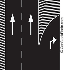 Road markings to branch off the main road exit. Vector...