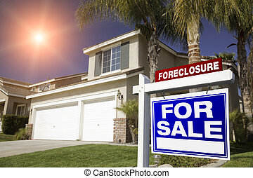 Blue Foreclosure For Sale Real Estate Sign and House - Blue...