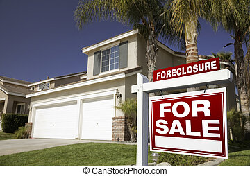 Red Foreclosure For Sale Real Estate Sign and House - Red...