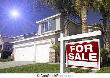 röd, för, försäljning, verklig, egendom,...