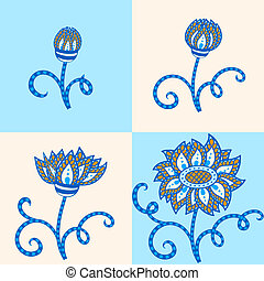 Abstract flower in blue and orange colors. Four stages of...