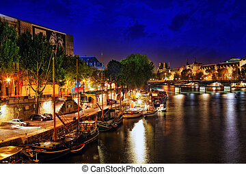 Castle Conciergerie and bridge, Paris, France. NIGHT -...