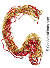 Letter g of red and gold beads - Letters of alphabet of red...
