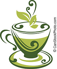 Vector icon of green tea cup