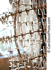 Champagne glasses on a special suport in a wedding day