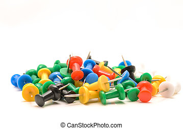 Push pins - Colorful push pins on white background