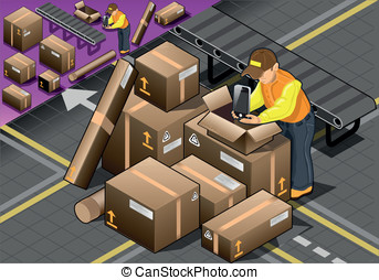 Isometric Packer at Work with Boxes - Detailed illustration...