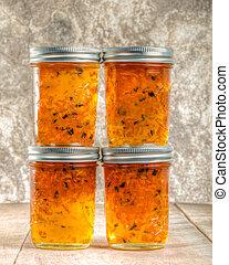 Jars of homemade pepper jelly