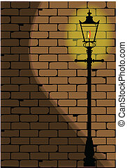Lamplight - A typical old London gaslight set against a worn...