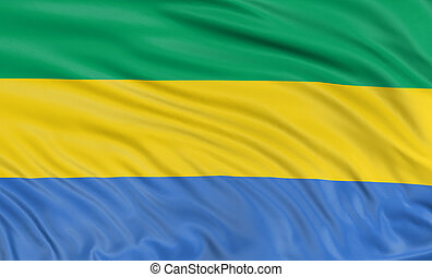 3D Gabon flag with fabric surface texture. White background.