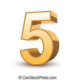 3d shiny golden number 5 on white background
