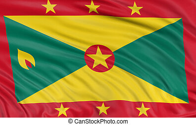 3D Grenada flag with fabric surface texture. White...