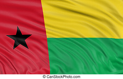 3D Guinea-Bissau flag with fabric surface texture. White...