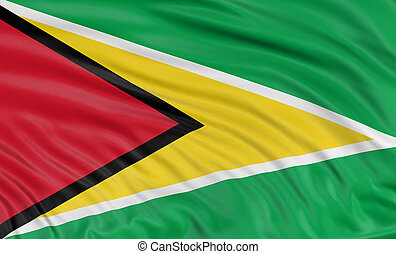 3D Guyana flag with fabric surface texture. White...