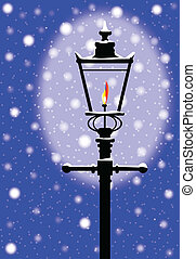 Winter Gaslight - A typical old London gaslight with flame...