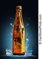 Brown glass bottles with waterdrop