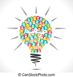 creative bulb design with people icon vector