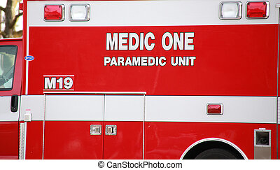 Paramedic Truck - Paramedic truck going to the scene of an...