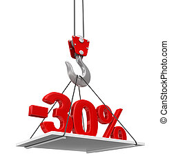 Percent On Crane Hook. Image with clipping path
