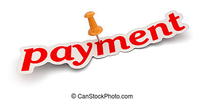 Push Pin and payment. Image with clipping path