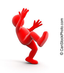 Falling person - falling person. Image with clipping path