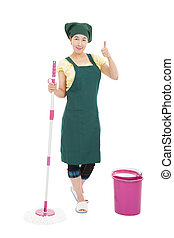 young asian  happy housewife cleaner  with thumb up