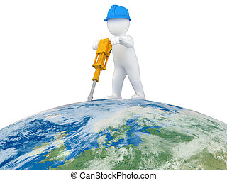 World Worker with jackhammer. Image with clipping path