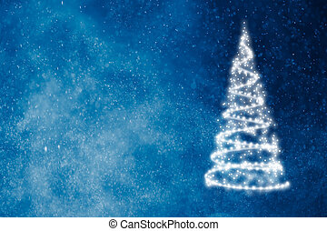 abstract christmas tree on blue shiny background