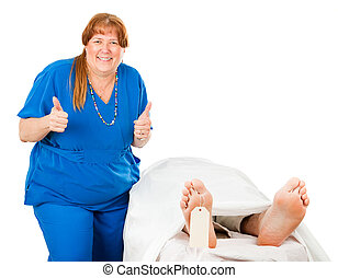 Another One Bites the Dust - Humorous photo of a nurse...