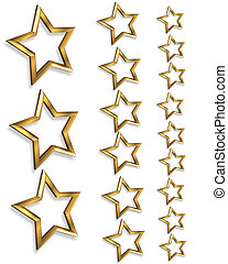 3D Gold stars borders 3 sizes - Illustration composition 3D...