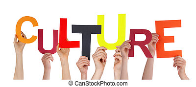 Hands Holding Culture - Many Hands Holding the Colorful Word...