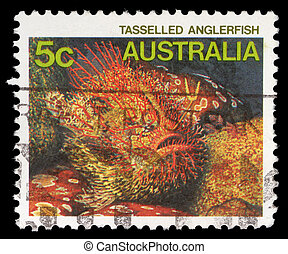Stamp printed in AUSTRALIA shows the Tasseled Anglerfish -...