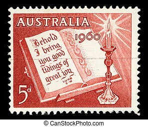 A stamp printed in Australia from the Christmas issue shows...
