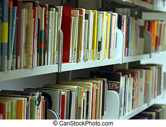 many books and essays, novels, volumes in a municipal...