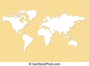 Earth map - An illustration of an earth map over a sandpaper...