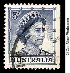 A stamp printed in Australia shows a portrait of Queen...