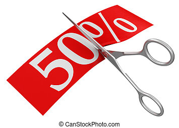 Scissors and 50% - Scissors and 50%. Image with clipping...