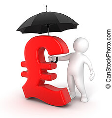 Man with Umbrella and Pound Sign - Man with Umbrella and...