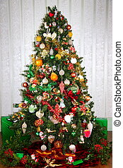 Colourful Christmas Tree - A Christmas tree decorated with...